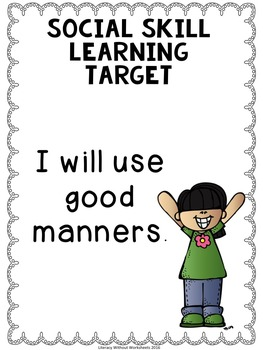 Social Skills Learning Targets Editable FREEBIE!