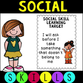 Social Skills Learning Targets Editable FREEBIE!