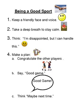 """Social Skills Lesson """"Being a Good Sport"""""""