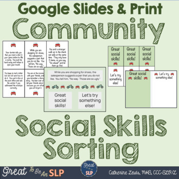 Social Skills Lesson: Community Themed Scenario Sorting for Middle Schoolers