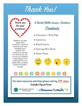 Social Skills Lesson For Speech Therapy: Emotions and Feelings