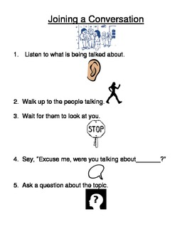 "Social Skills Lesson ""Joining a Conversation"""