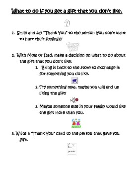 """Social Skills Lesson """"What to do if you Get a Gift You Don't Like"""""""