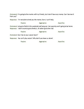Life Skills: Assertiveness: Which Is Which, Communication Styles Worksheet