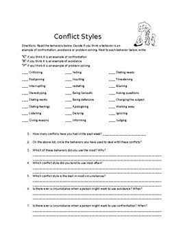 Conflict Resolution Worksheets | Teachers Pay Teachers
