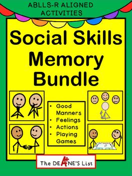 Social Skills Memory Bundle: Good Manners, Feelings, Playing Games, Actions