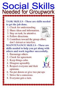 Social Skills Needed for Groupwork Poster