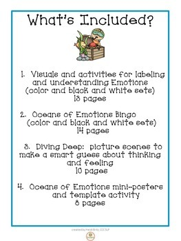 Social Skills Activities:   Emotions Oceans