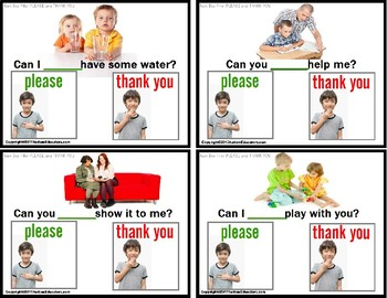 """Social Skills PLEASE and THANK YOU Manners TASK CARDS """"Task Box Filler"""" Autism"""