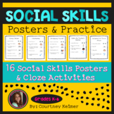 Social Skills Posters with Visuals (16) and Cloze Activity