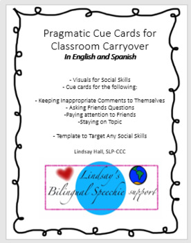 Social Skills/ Pragmatic Cue Cards for Carryover