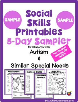 image relating to Free Printable Autism Worksheets titled Social Expertise Printables for Pupils with Autism SAMPLER