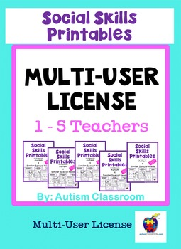 Social Skills Printables for Students w/ Autism: School Site License (1-5 Users)