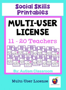 Social Skills Printables for Students with Autism: School License (11-20 Users)