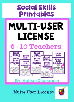 Social Skills Printables for Students with Autism: School License (6-10 Users)