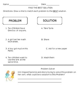 Social Skills: Problem vs. Solution, Problem-Solver, Problem Solving Worksheet
