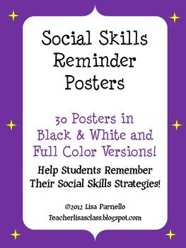 Social Skills Reminder POSTERS!!