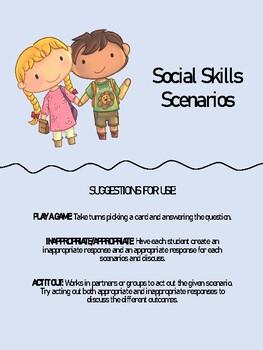 Social Skills/Role Play Scenario Cards- JUST PRINT!