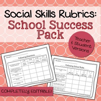 Social Skills Rubrics: School Success Skills Pack
