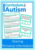 Social Skills Sharing Personal Information Autism Special Education