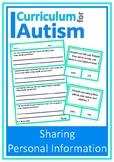 Social Skills Sharing Personal Information Autism ESL