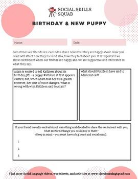 Social Skills Squad: Empathy - Birthday New Puppy