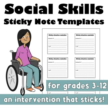Social Skills Sticky Note Templates