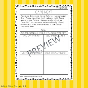 Social Skills Stories for Speech Therapy! Handouts/Homework