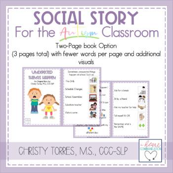 "Positive Behavior Social Story for Children w/ Autism ""Unexpected Things Happen"""