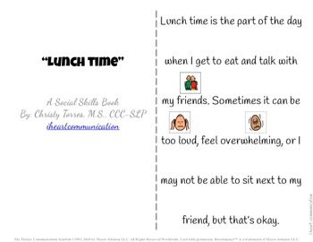 "Social Skills Story ""Lunchtime"" for Children with Autism or Special Needs"