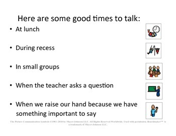 "Behavior Social Story ""Talking at School"" for Children w/Autism or Special Needs"