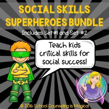 Social Skills Superheroes Bundle (Sets #1 and Set #2): Save 30%