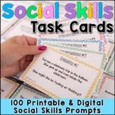 Social Skills Task Cards   Digital & Print SEL Activities