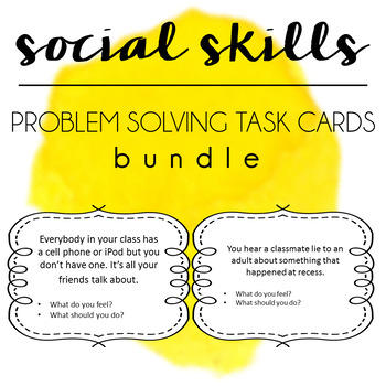Social Skills Problem Solving Task Cards BUNDLE - Boys Girls & Gender Neutral