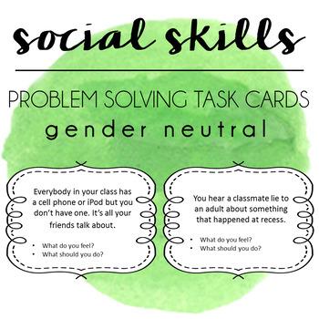 Social Skills Problem Solving Task Cards - Gender Neutral