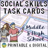 Social Skills Task Cards for Middle and High School   SEL