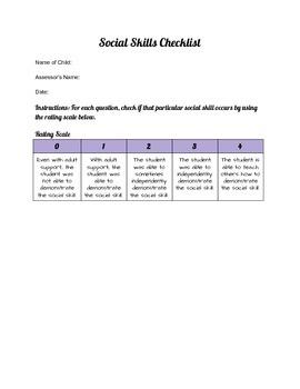 Social Skills Teacher Checklist - Communication Skills