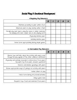 Social Skills Teacher Checklist - Social Play & Emotional Development