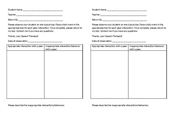 Social Skills Teacher Consultation Forms