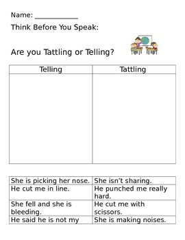 Social Skills-Telling Vs. Tattling