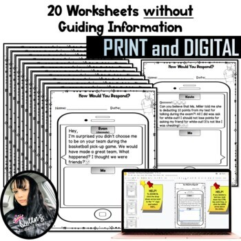 Social Skills Text Messages - How Would You Respond? (40 Worksheets)
