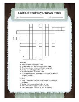 Social Skills Vocabulary Crossword Puzzle