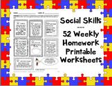Social Skills Weekly Homework / Worksheets 365 activities