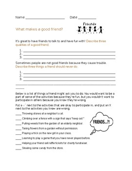 "Social Skills/Life Skills: What makes a ""Good Friend""?, Friendship Worksheet"