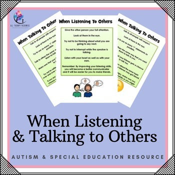 Social Skills : When Listening and Speaking to Others
