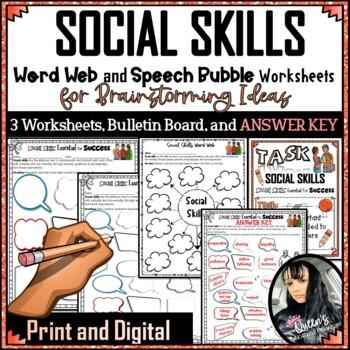 Social Skills Word Web Worksheets, Bulletin Board, and ANSWER KEY