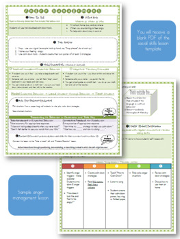 Social Skills and Behavior Instruction Lesson Plan Template