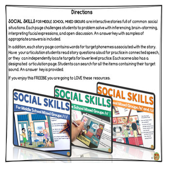 Social Skills for Middle School Mixed Groups: J FREEBIE