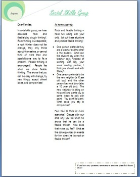 Social Skills group Newsletter THINKING - Editable