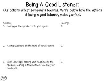 Social Skills:Being A Good Listener Freebie